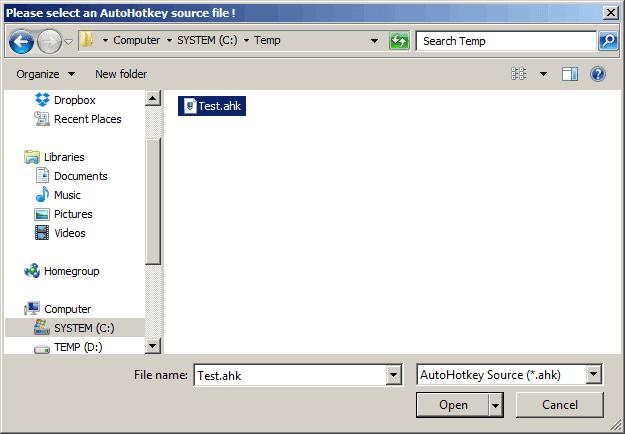 AHKcleaner - Select file dialog