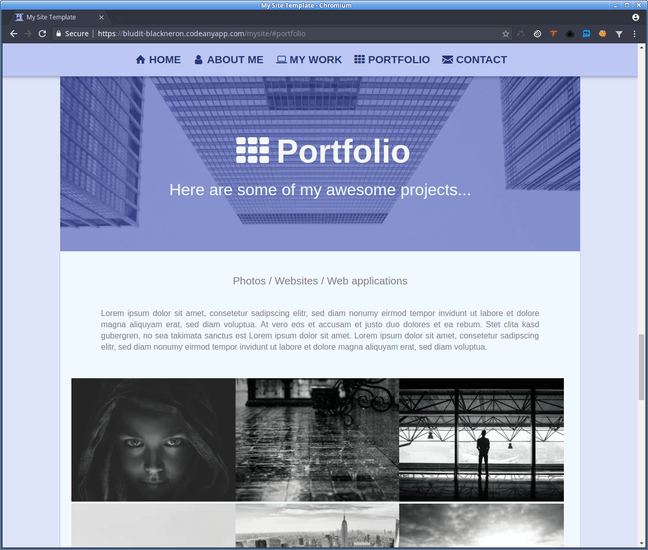 MySite - Portfolio area