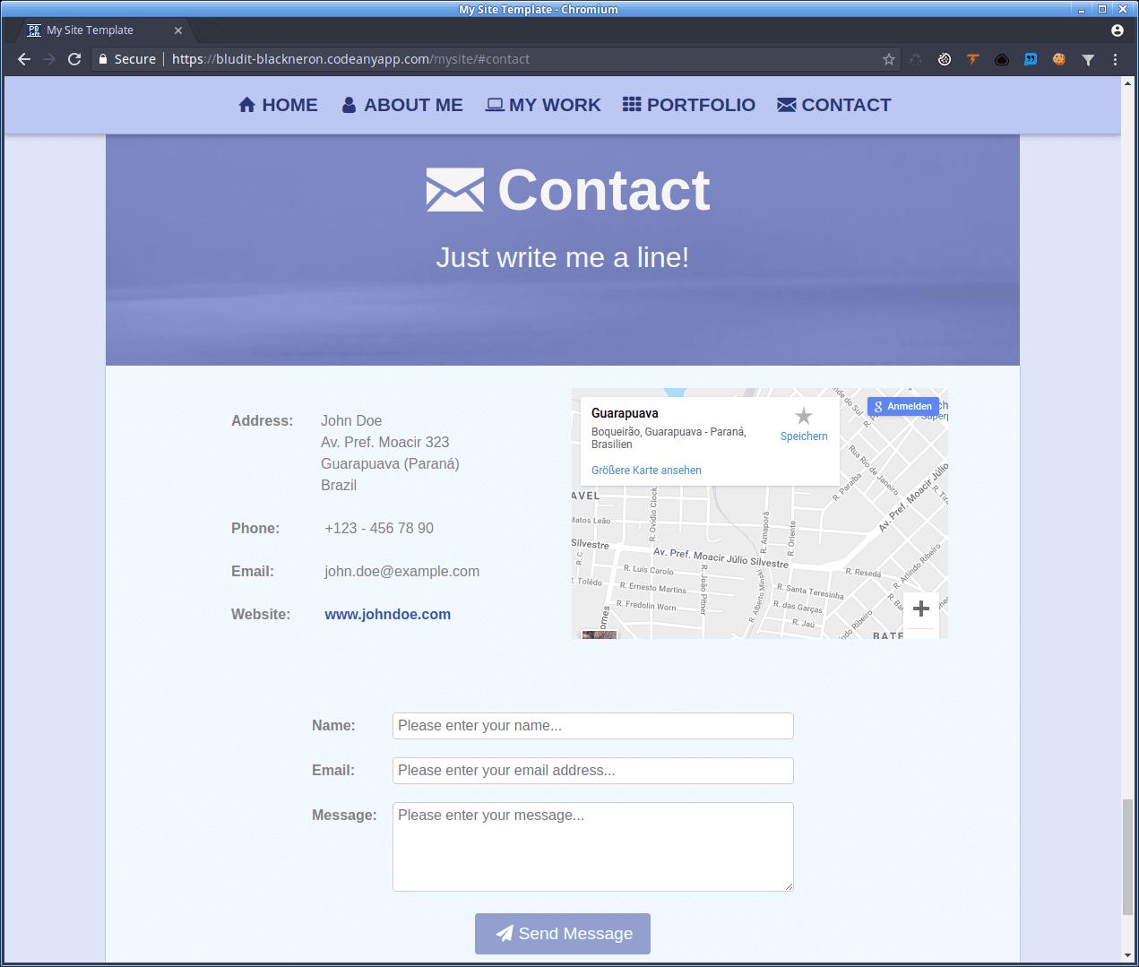 MySite - Contact area