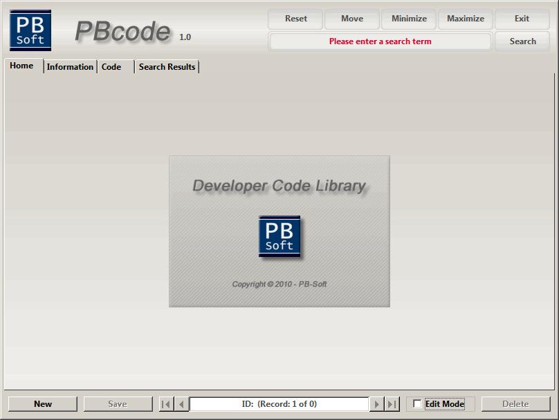 PBcode - Start window