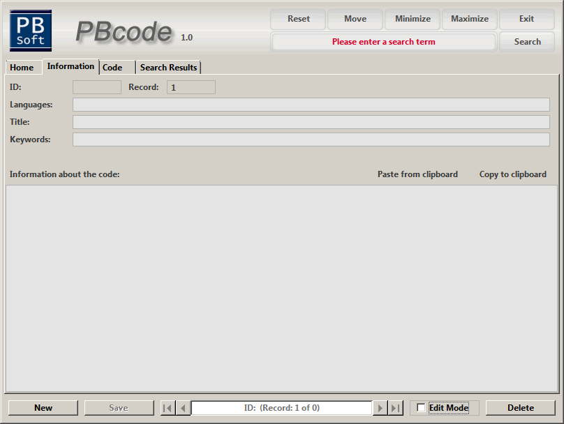 PBcode - Description window