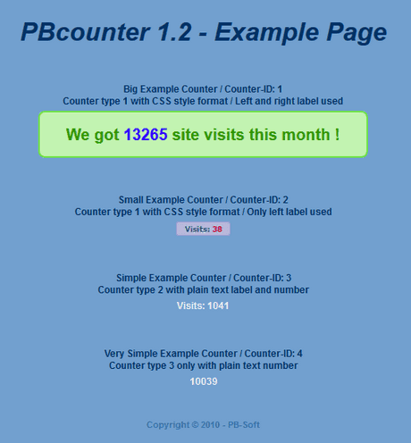 PBcounter - Example page