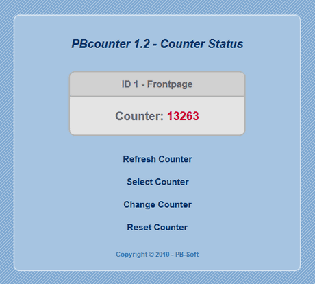 PBcounter - Counter status page