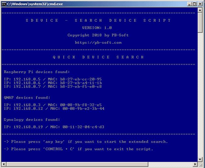 PBdevice - Quick Search (Batch file)