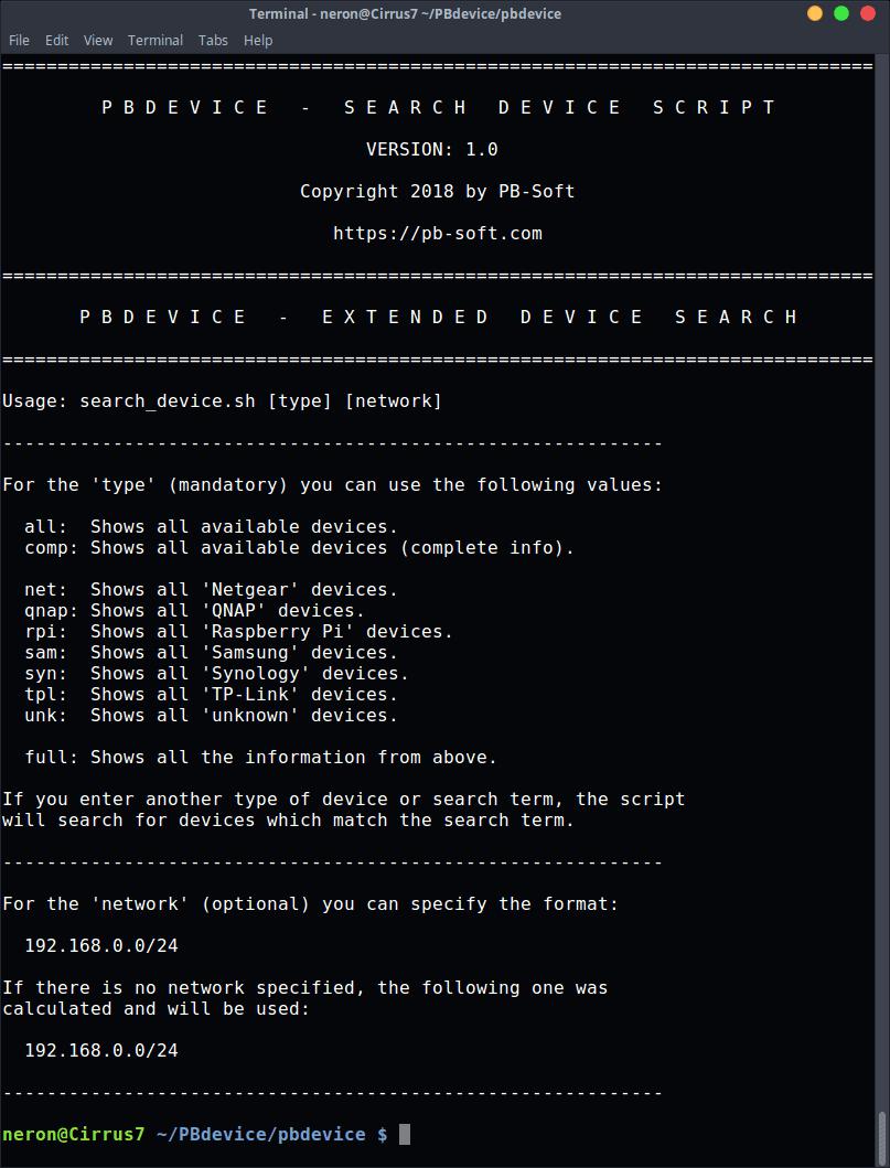 PBdevice - Extended Usage Info (Bash file)