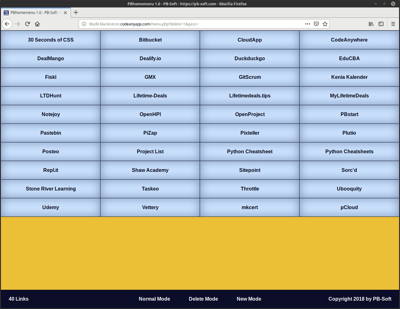 PBhomemenu - Delete Link