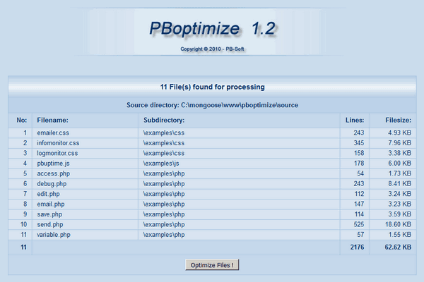 PBoptimize - Start screen