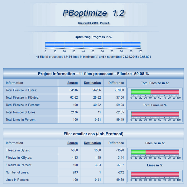 PBoptimize - Project and file info