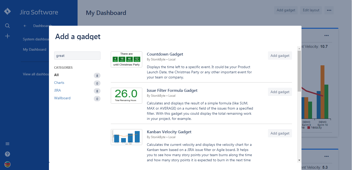 Adding a gadget to a dashboard