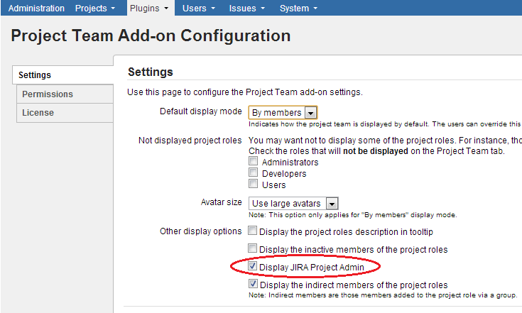 The new setting for enabling/disabling the display of the JIRA Project Admin