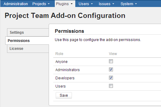 The new Permissions tab under add-on configuration