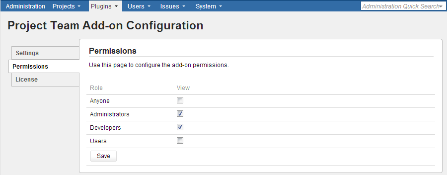 Configuring add-on permissions