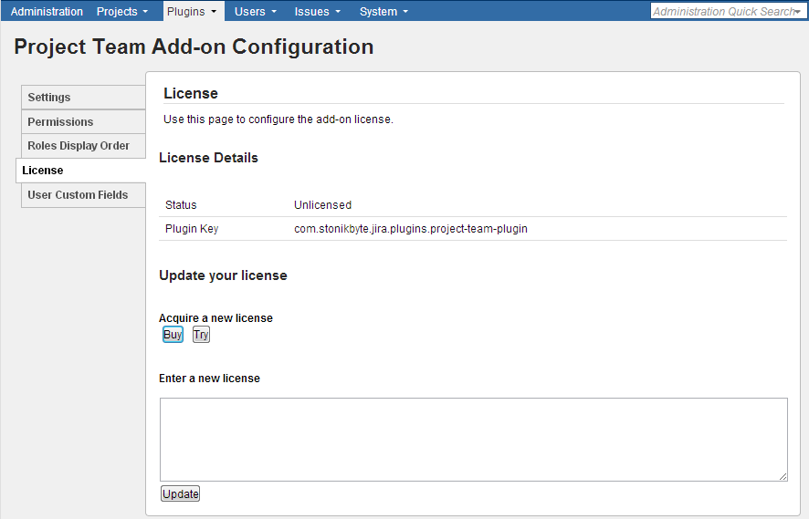 License activation in Project Team admin section