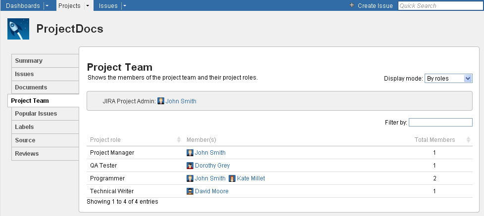 The project team displayed by project roles