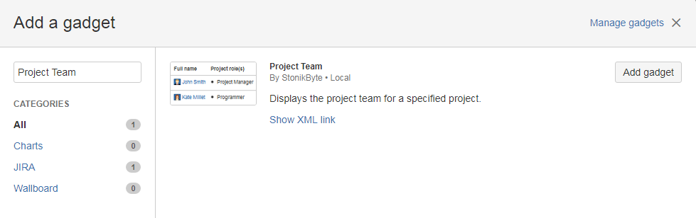 Adding the Project Team Gadget
