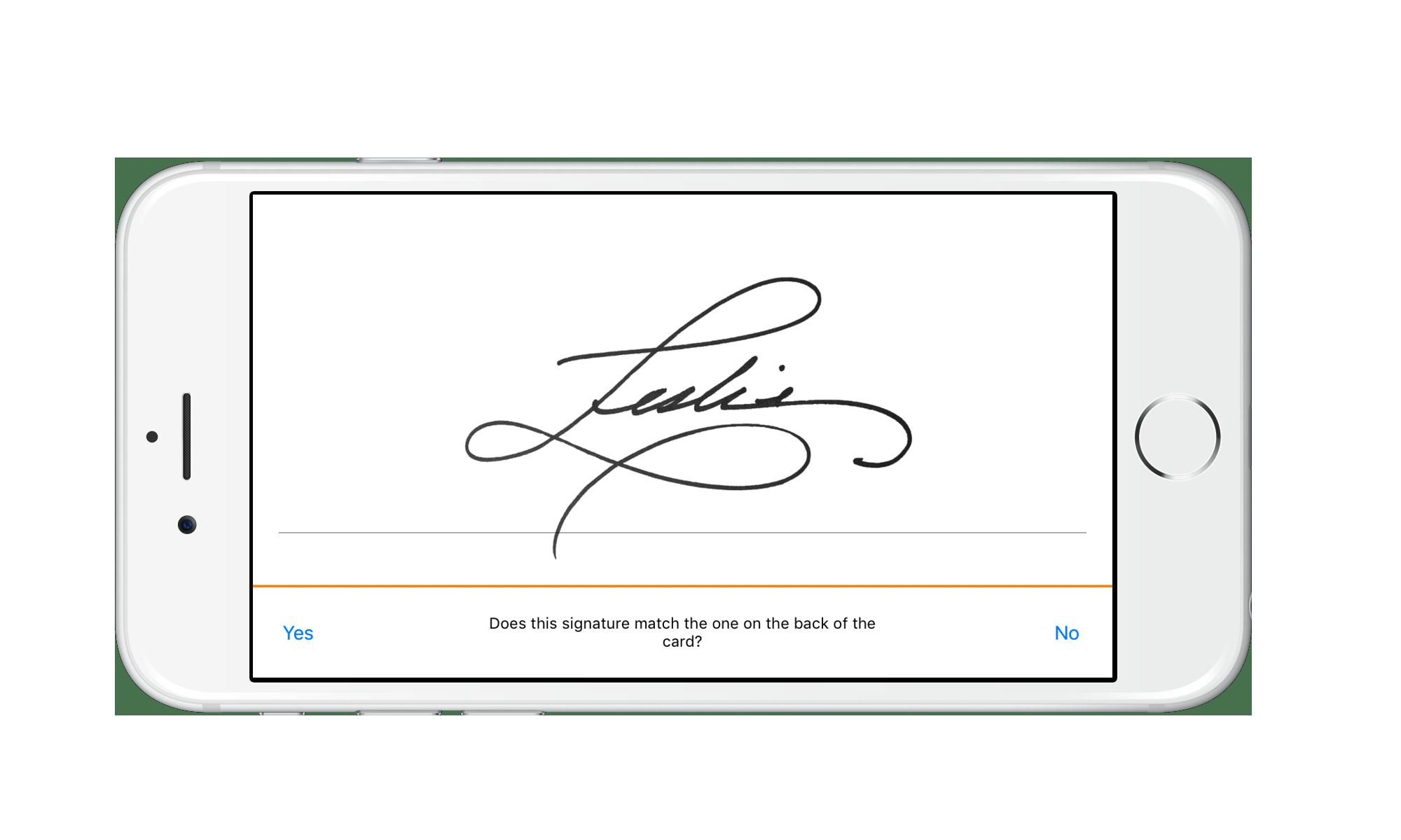 Signature verification screen