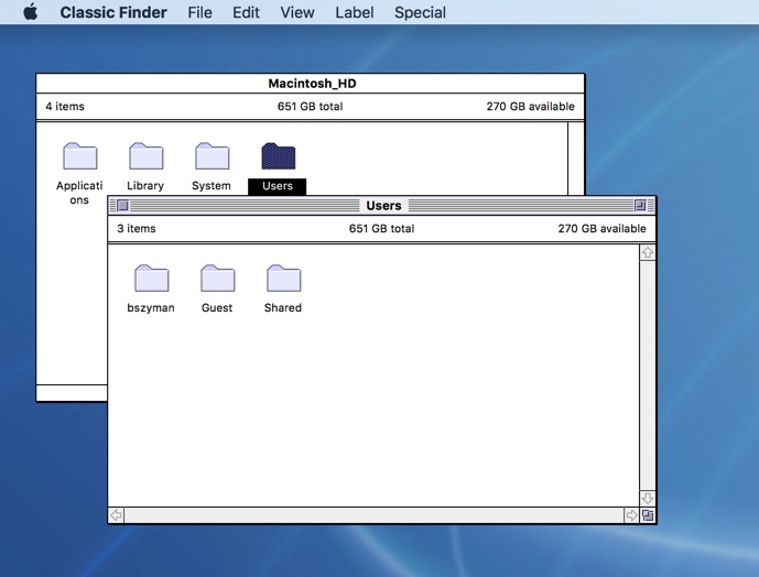 image of classic finder showing a few open windows
