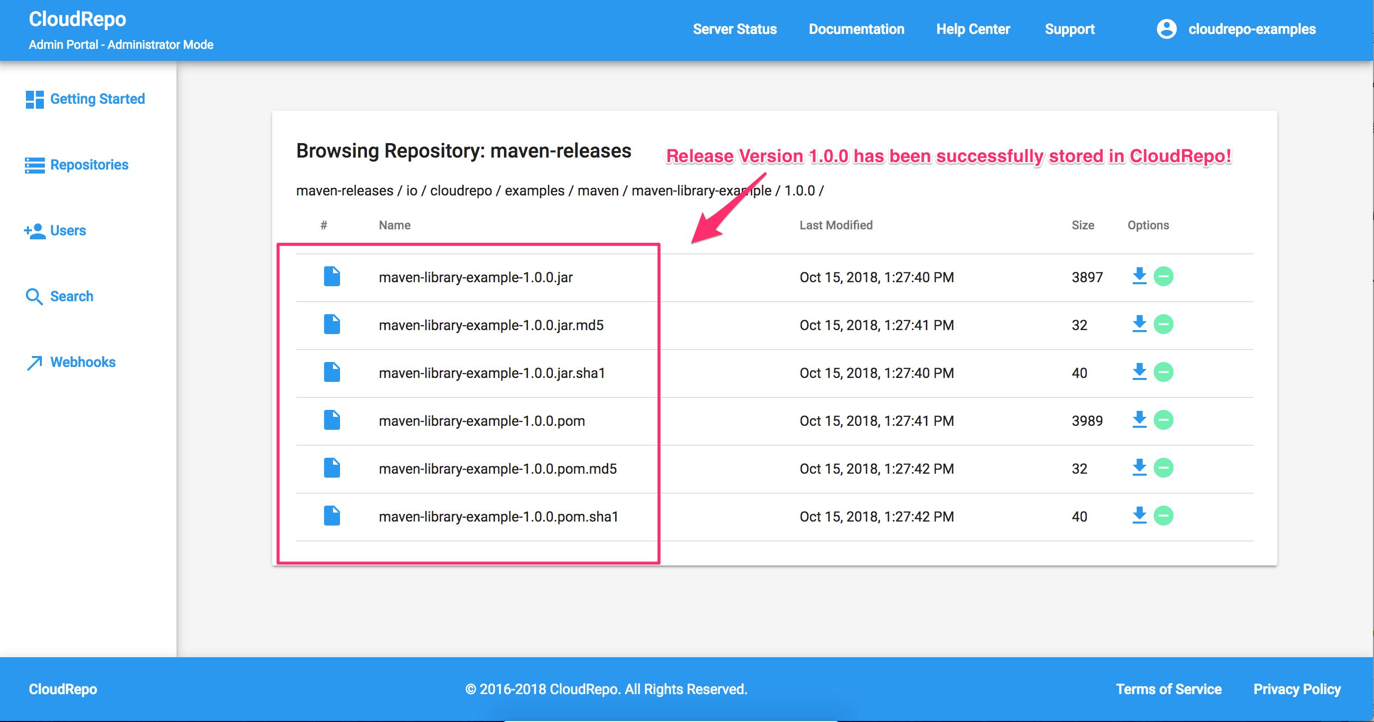CloudRepo Release Version