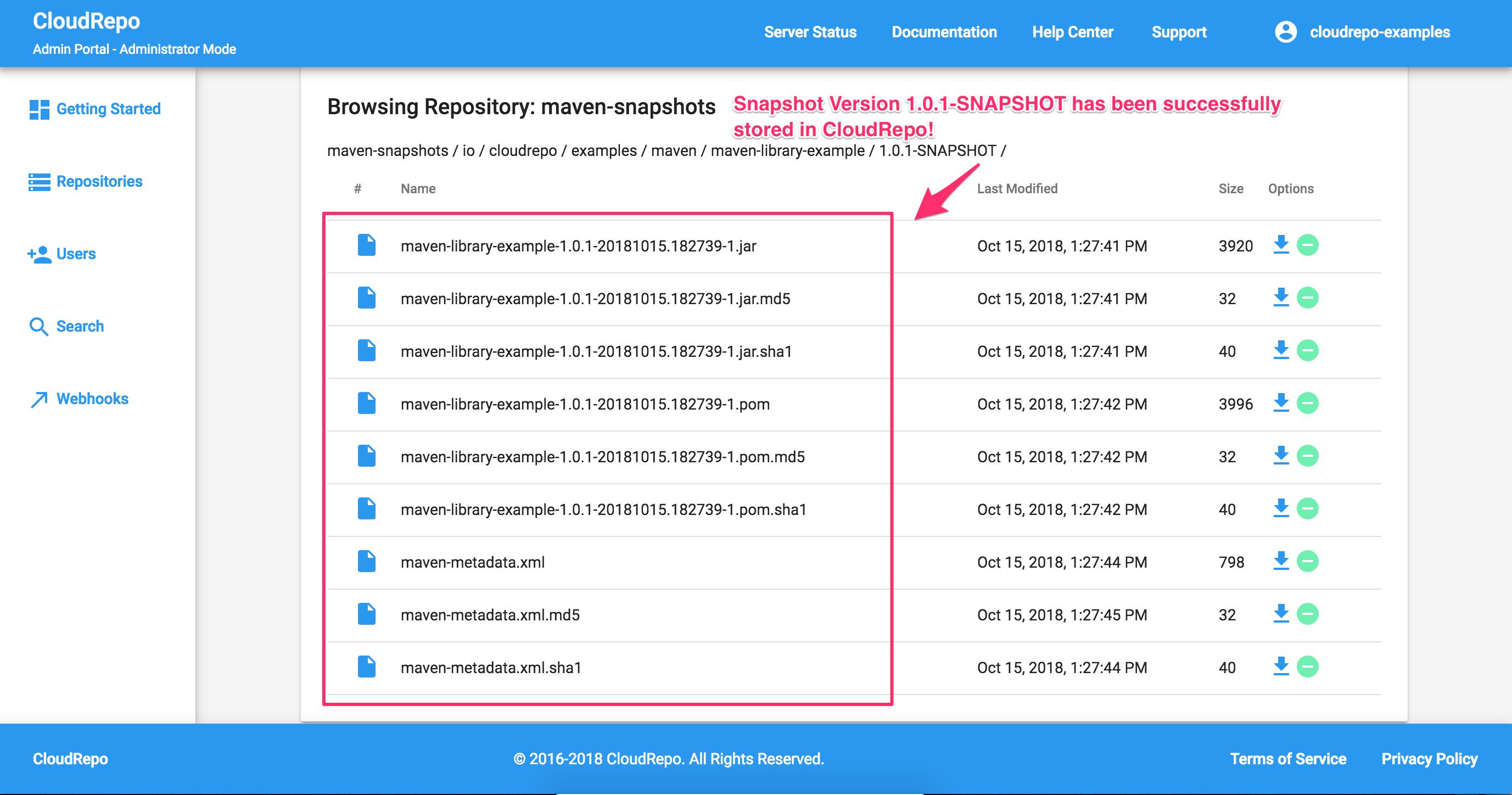 CloudRepo Snapshot Release