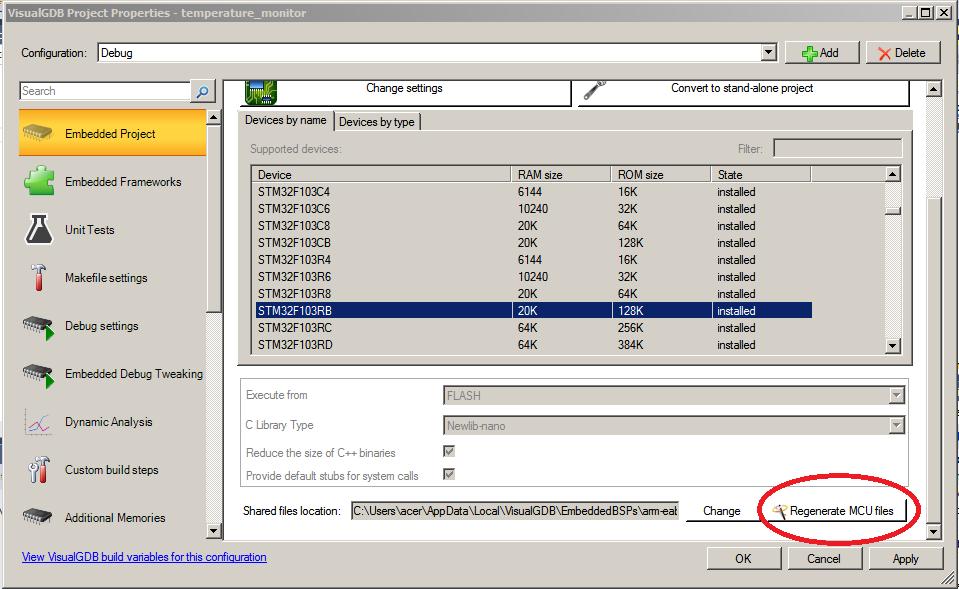Regenerate MCU files