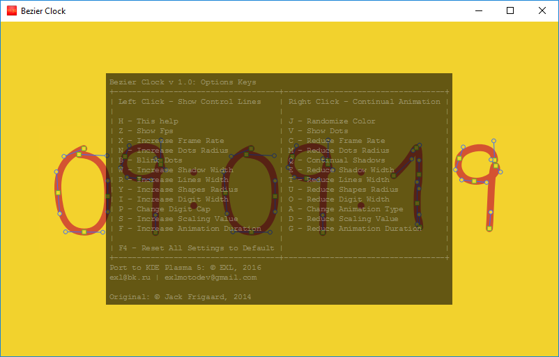 Bezier Clock Application on MS Windows 10