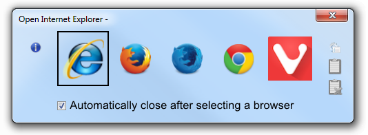 Default view of Browser Chooser 2