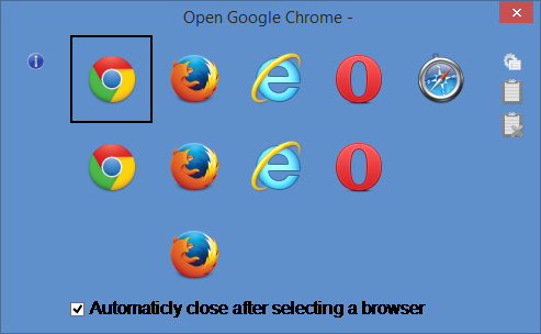 The flexibility of Browser Chooser 2, showing multiple icons in multiple rows