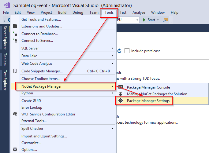NuGet Package Manager Settings