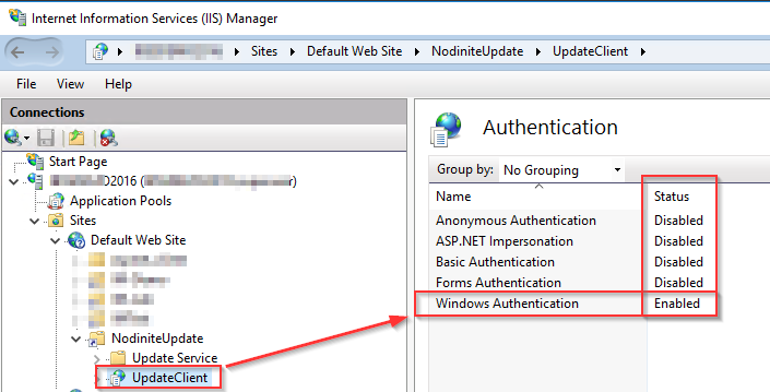 IIS Authentication Settings for the Nodinite Update Client