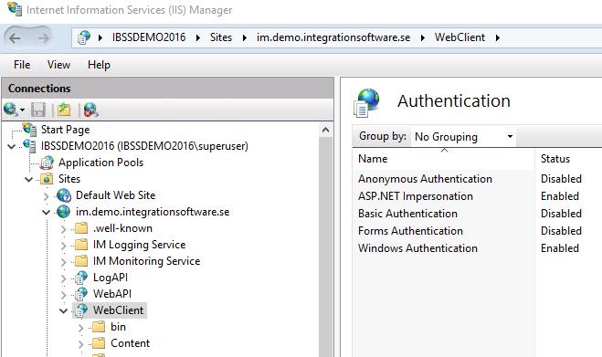 IISWebClientAuthenticationSettings
