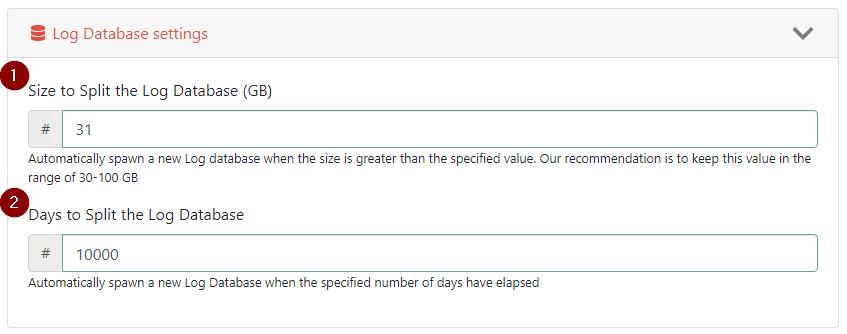Configure Log Database options