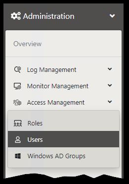 User menu pane