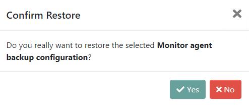 Confirm restore operation modal