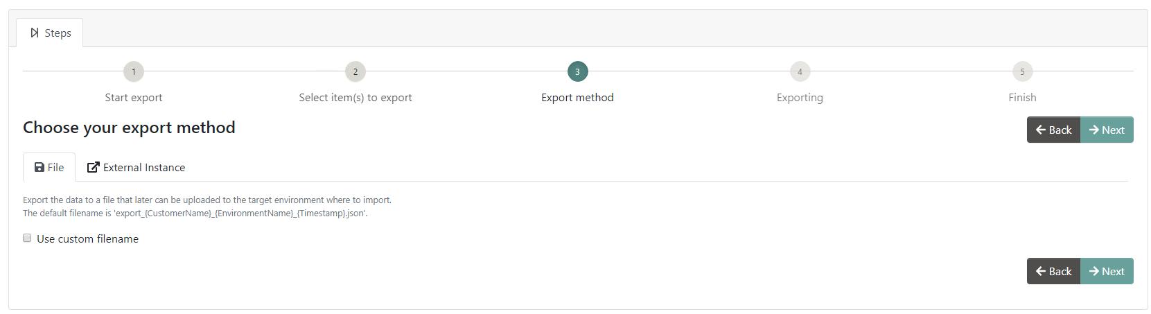 File option tab