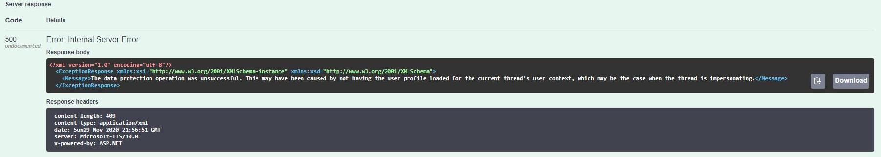 Data Protection error