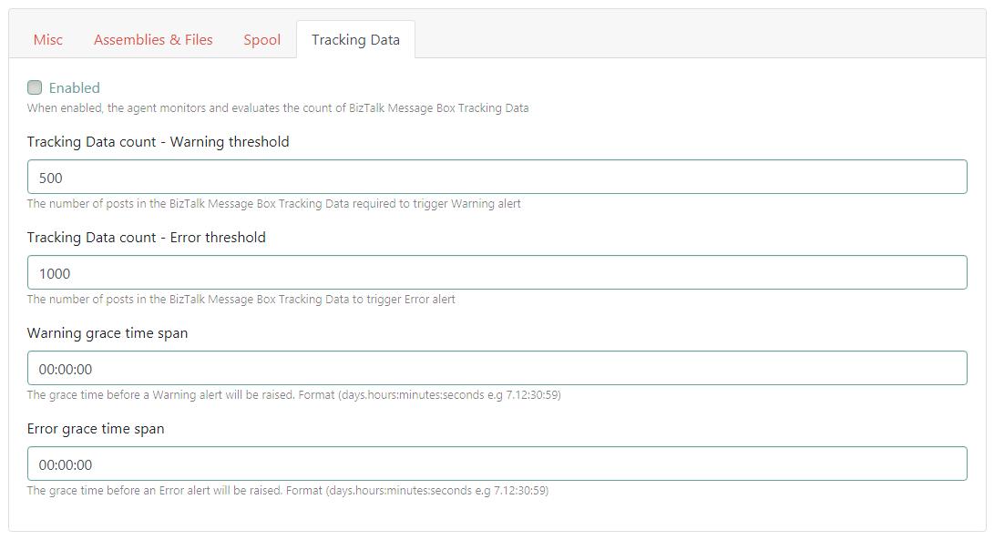 TrackingData Table options