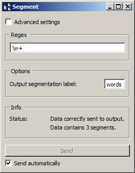 """Interface of widget Segment configured with regex """"\w+"""""""