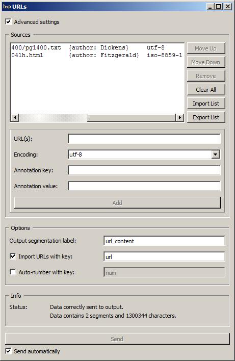 Advanced interface of the URLs widget