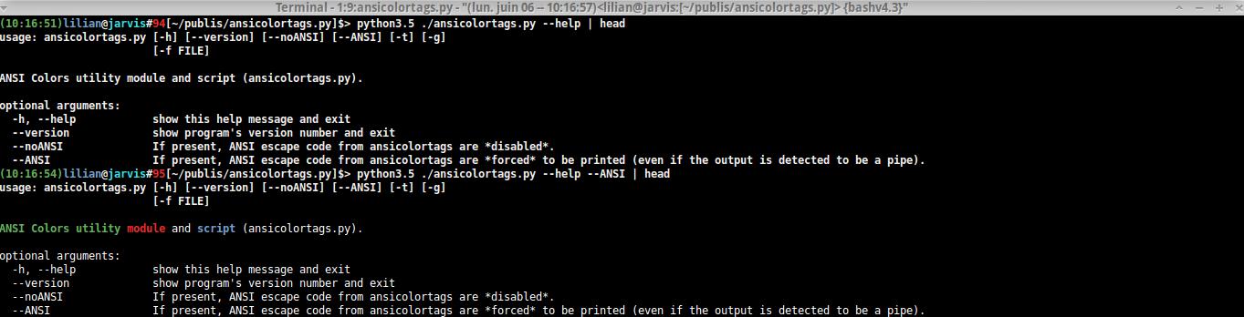 Test of the --ANSI flag option.