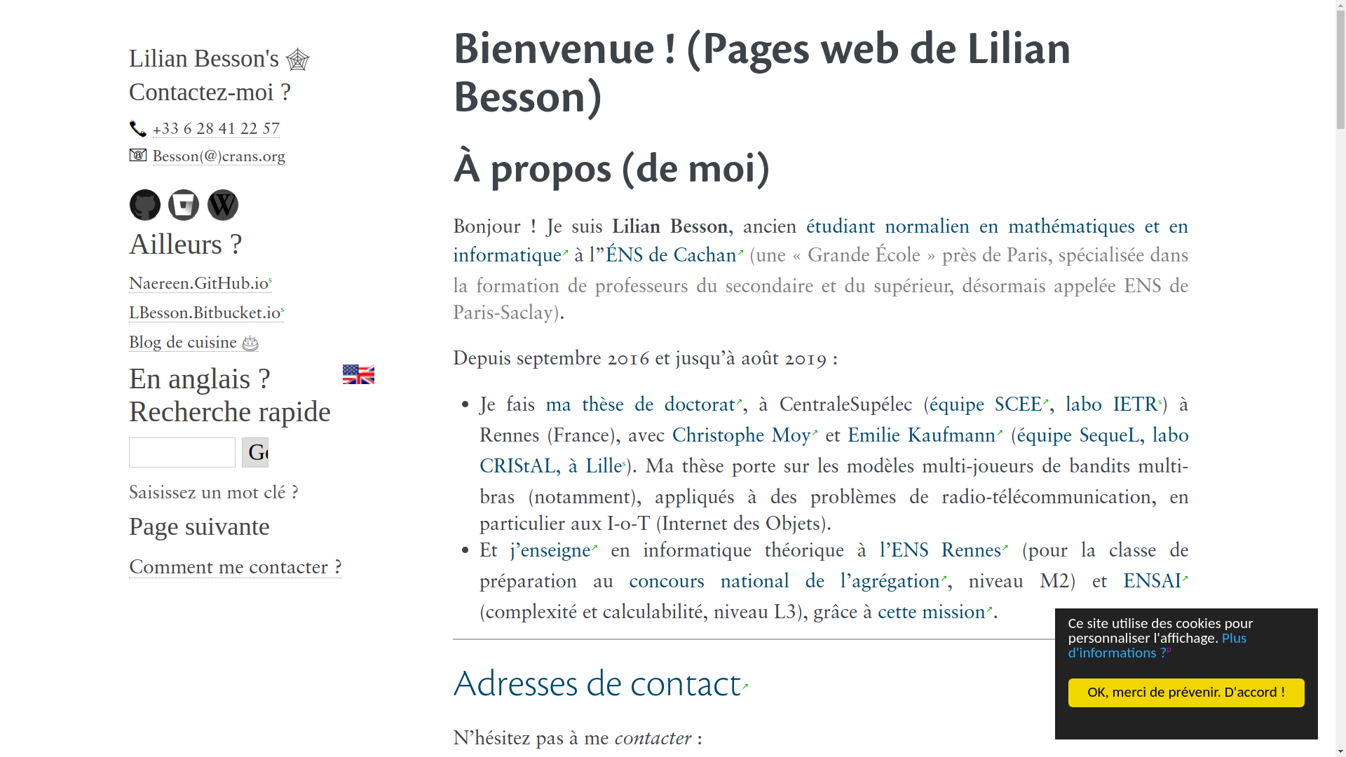 Screenshot demo of my web pages in French (2/2)