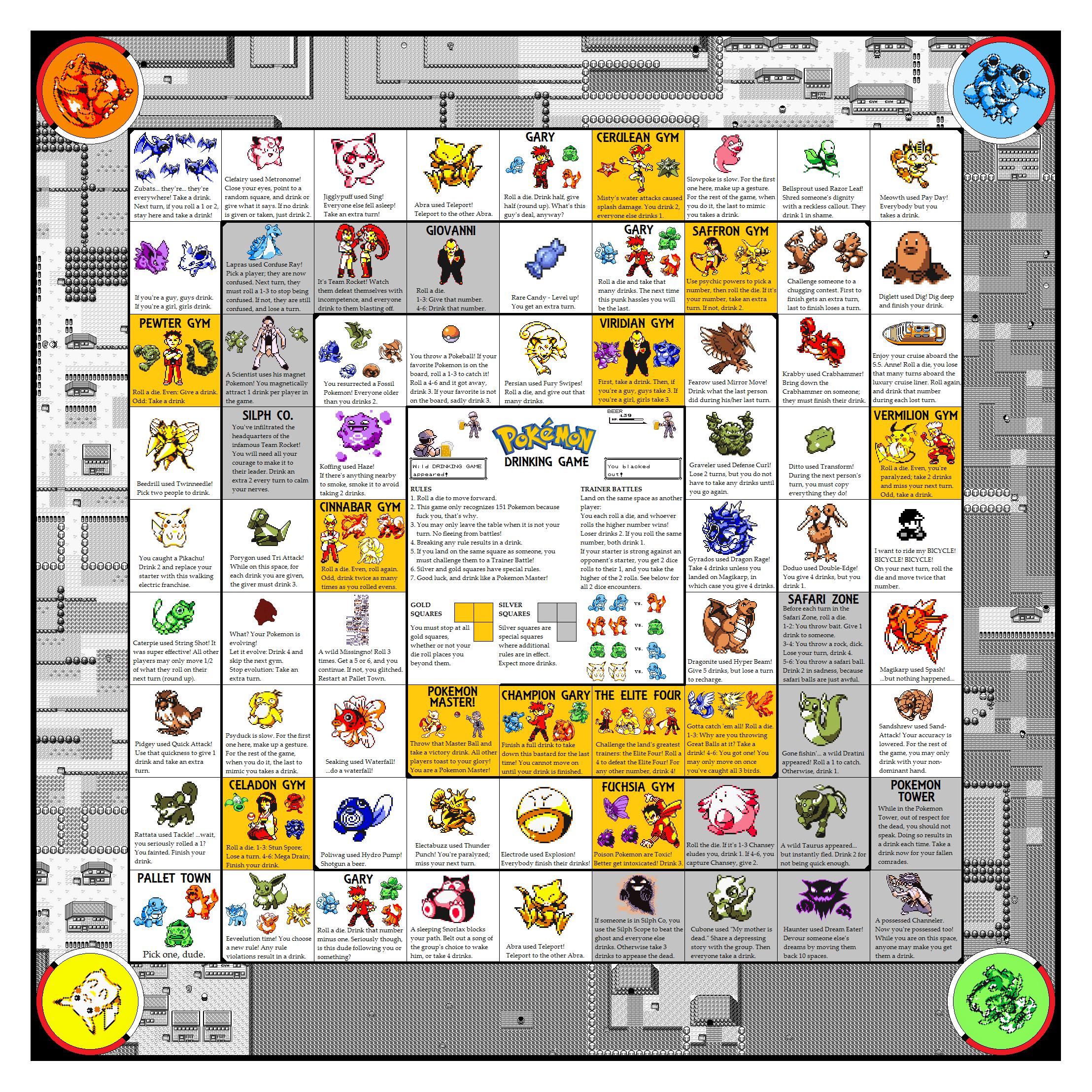 Pokemon Drinking Game Board