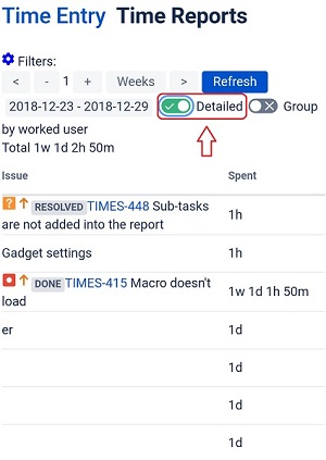 Time Reports detailed