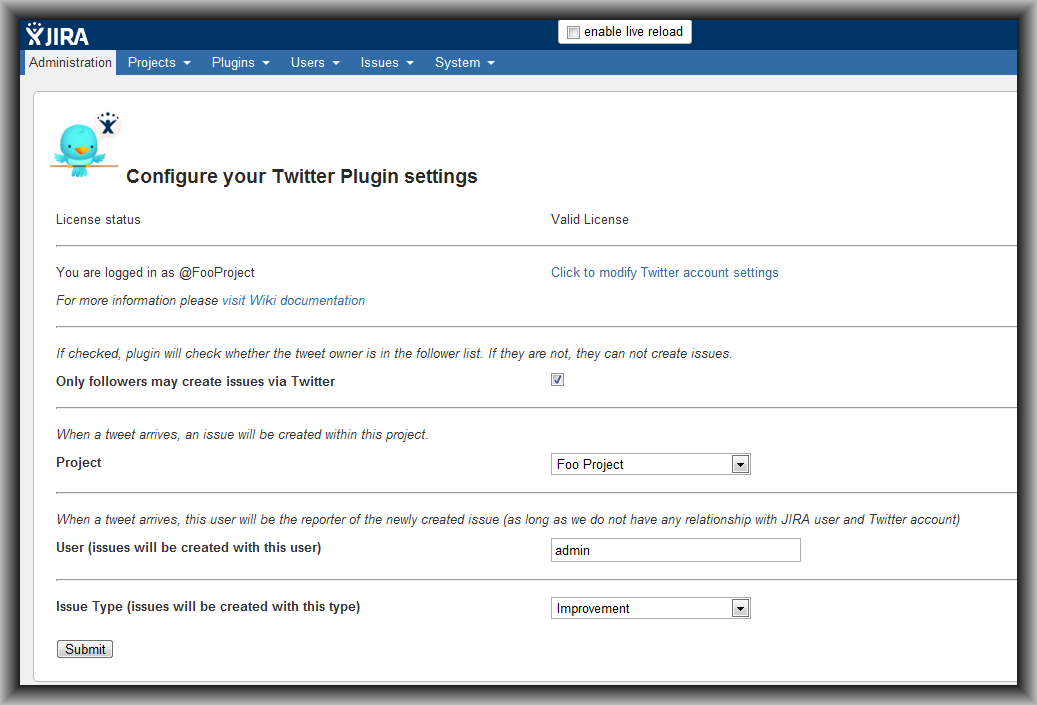 Twitter Plugin Main Configuration Page View