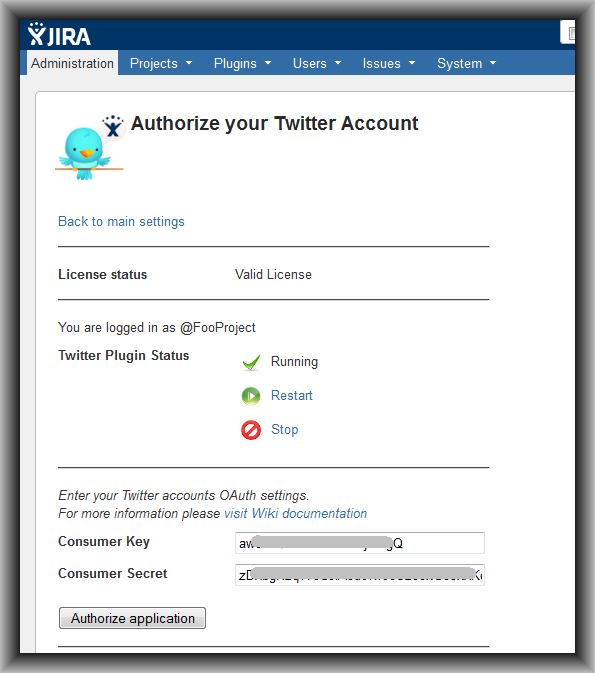Authorize your Twitter Account Page View