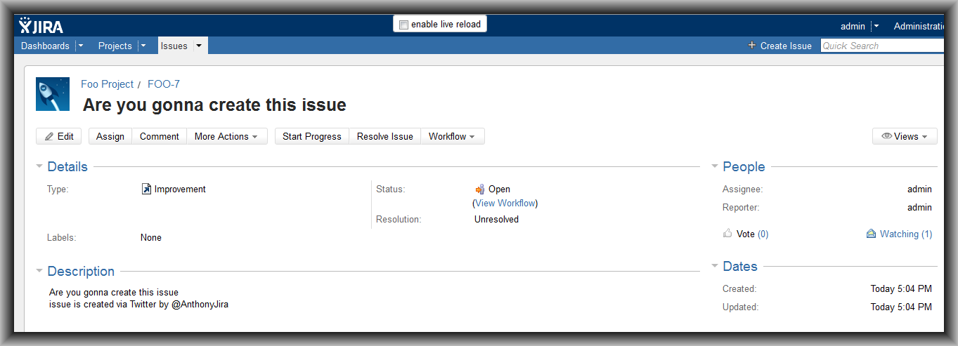 Tweet is now a new issue on JIRA