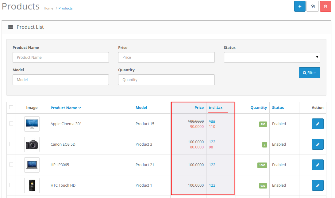 Price Input Helper 2 Product list page screenshot with additional column for price with tax