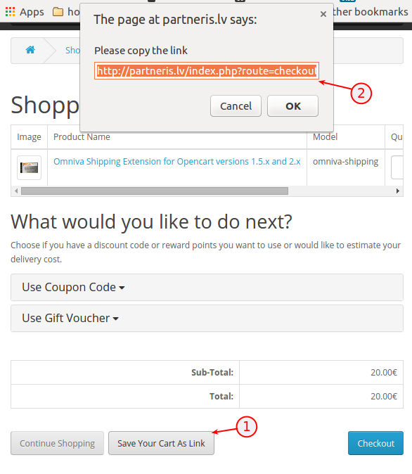 Cart page screenshot