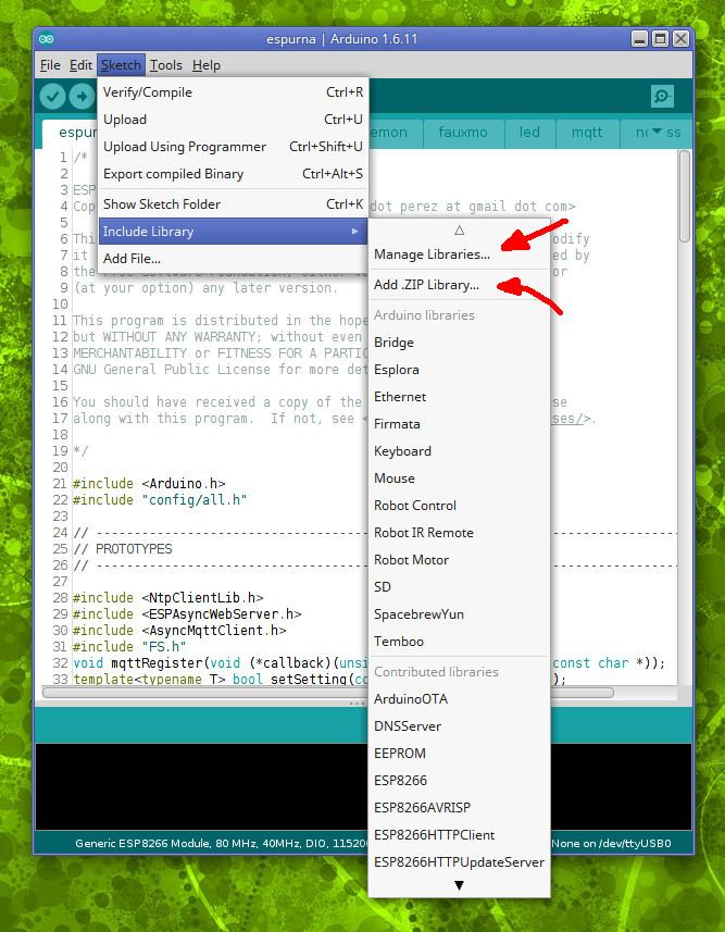xoseperez / espurna-original / wiki / ArduinoIDE deprecated — Bitbucket